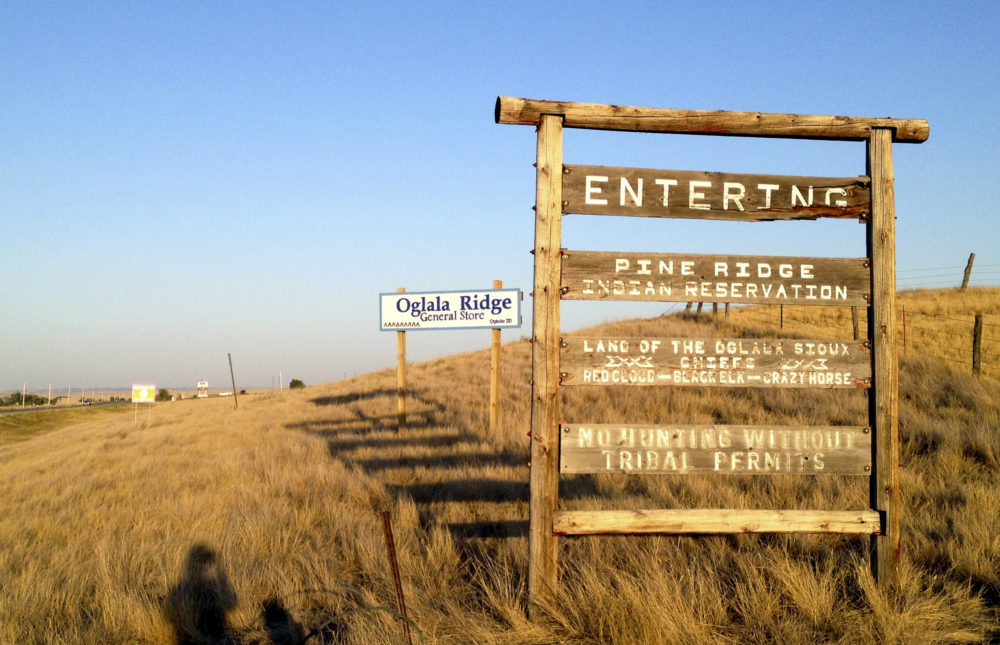 The entrance to the Pine Ridge Indian Reservation in South Dakota, home to the Oglala Sioux tribe. (Kristi Eaton/AP)