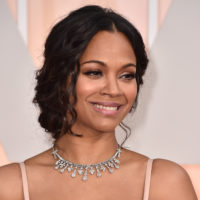 Zoe Saldana arrives at the Oscars on Sunday, Feb. 22, 2015. (Photo by Jordan Strauss/Invision/AP)