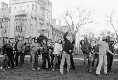 Yale University students join in a Frisbee game Wednesday, April 10, 1974. (Bob Child/AP)