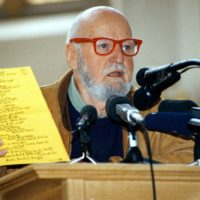 """American poet Lawrence Ferlinghetti, 79, opens the """"Nonstop Ferlinghetti"""" tribute at the St. Salvator church in Prague Sunday, April 19, 1998. Ferlinghetti, whose City Lights bookshop in San Francisco was a centre for Beat Generation writers in the 1950s, opened the tribute event in Prague Sunday. (AP Photo/Tomas Zelezny/CTK)"""