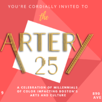 The ARTery 25 celebration takes place on March 28 at WBUR's CitySpace (Illustration by Arielle Gray/WBUR)