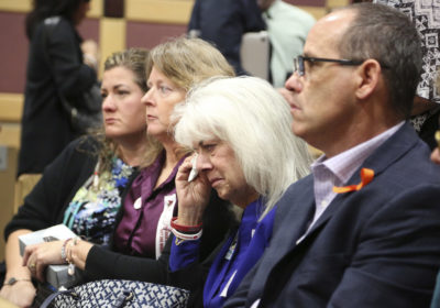 People at an arraignment hearing for Nikolas Cruz, the alleged shooter at Marjory Stoneman Douglas High School, in Fort Lauderdale, Fla., on March 14, 2018. (Amy Beth Bennett/South Florida Sun-Sentinel via AP)