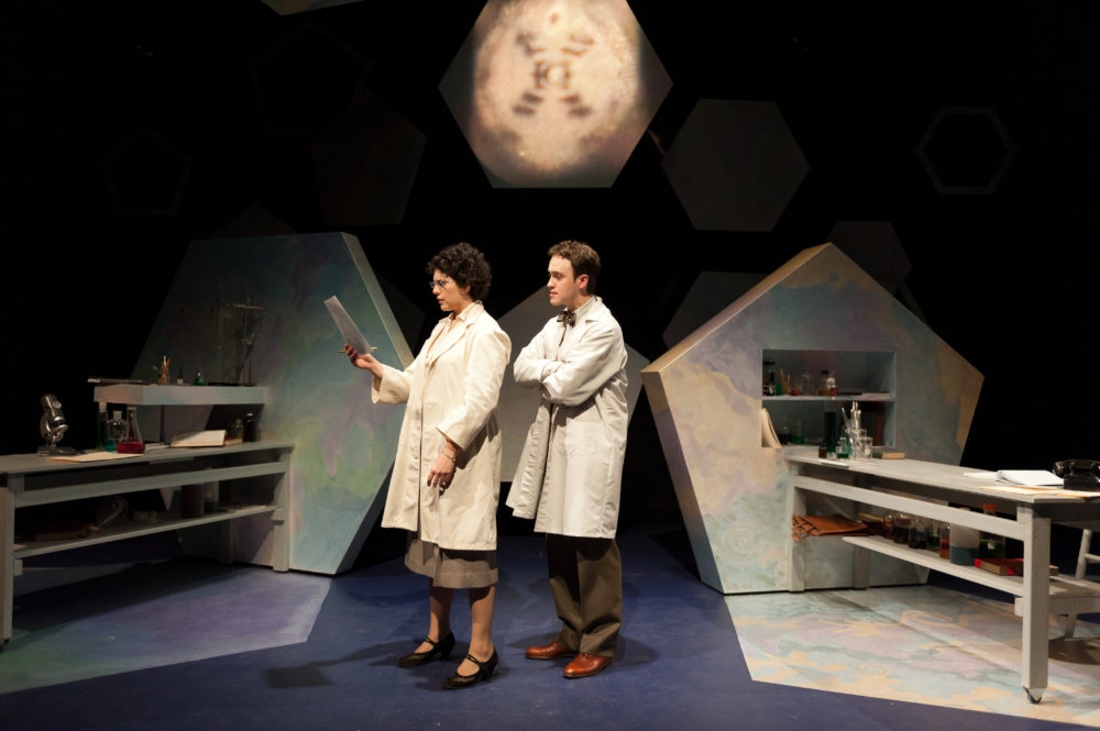 """Actors Becky Webber and Nick Sulfaro in the 2012 staging of """"Photograph 51."""" (Courtesy A.R. Sinclair Photography)"""