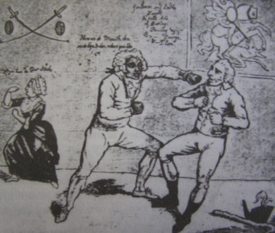 The Chevalier boxing with Col. Hanger in a 1789 London Morning Post cartoon. (Public Domain)