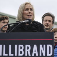 Surrounded by her family, Sen. Kirsten Gillibrand (D-N.Y.) announces that she will run for president in 2020 outside the Country View Diner, January 16, 2019 in Troy, New York. (Drew Angerer/Getty Images)