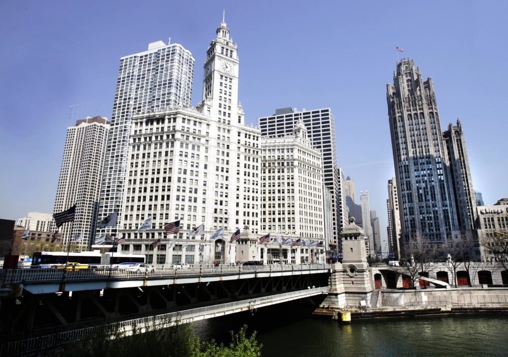 The Wrigley Building, left, and the Tribune Tower, right, flank either side of the Chicago River along Michigan Avenue. (Jeff Haynes/AFP/Getty Images)