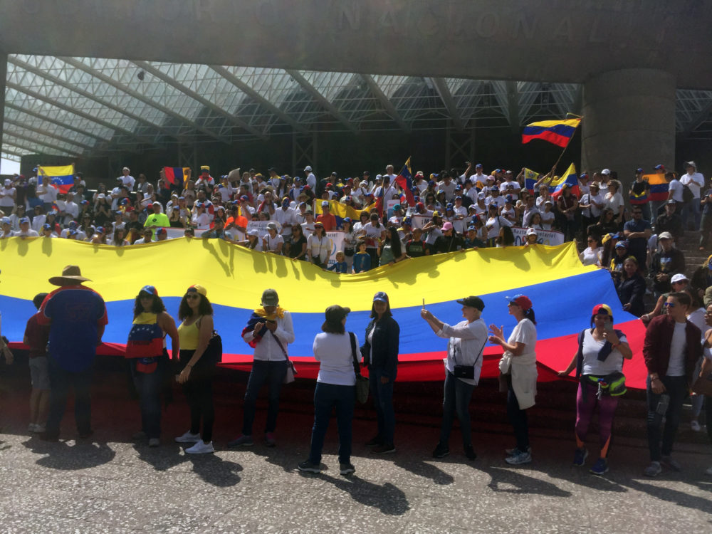 Hundreds march in Mexico City asking for Mexico's support in Venezuela's humanitarian crisis. (Rodrigo Cervantes/KJZZ)