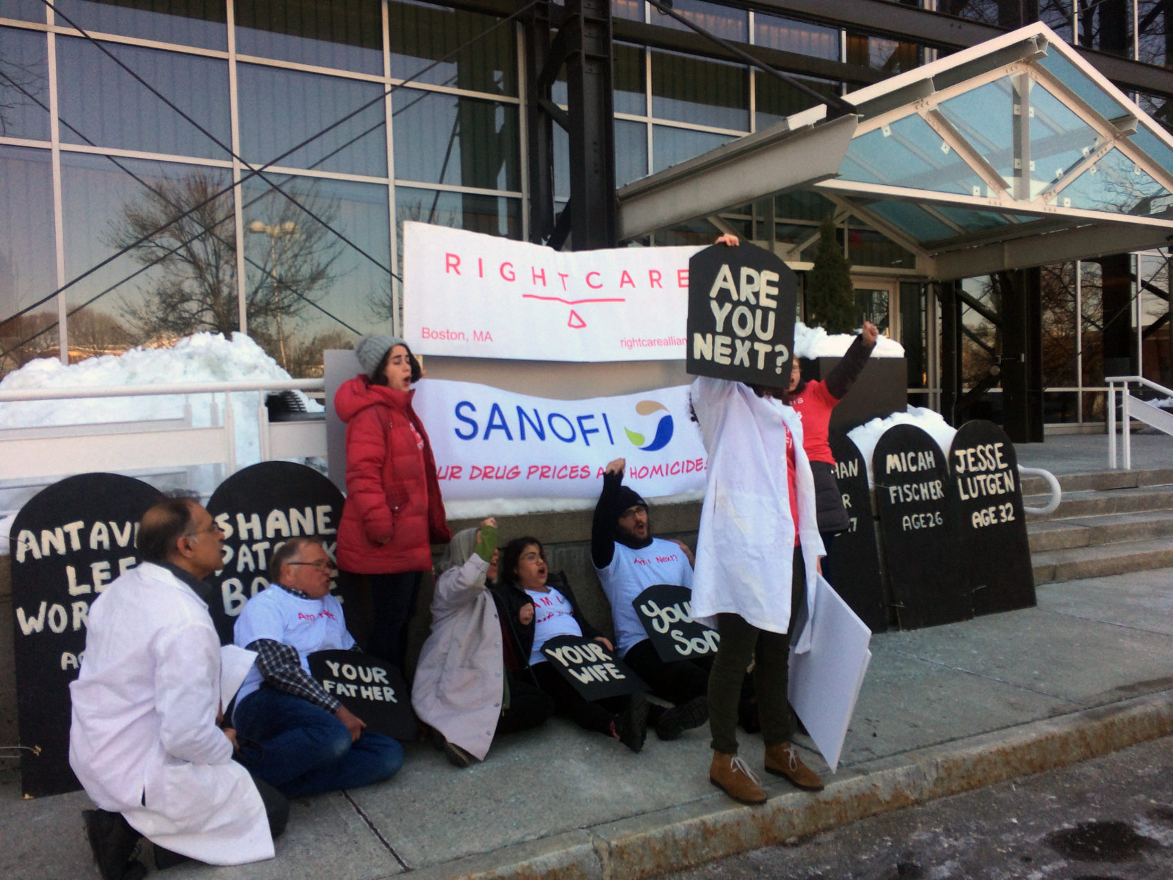The Right Care Alliance held a protest against high insulin prices, which have led some to the dangerous practice of cutting doses to save, at Sanofi offices in Cambridge, Mass., Tuesday. (Anna Bauman/On Point)