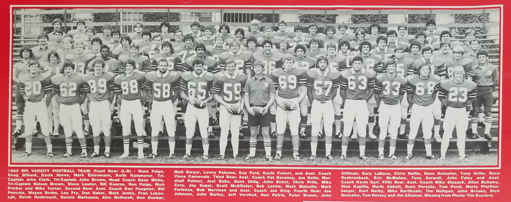 A photo of the 1980 RPI football team, which does not include John Wilson