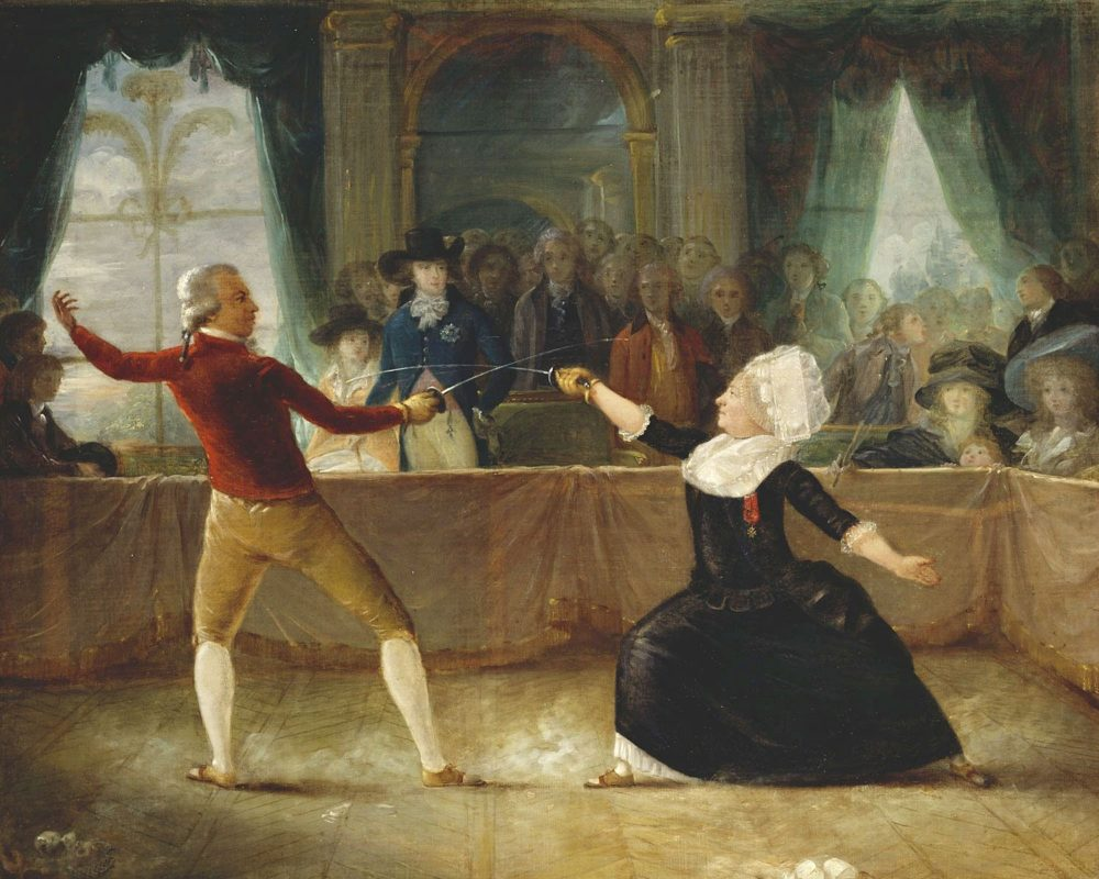 Fencing match between St.-Georges and cross-dressing French diplomat and spy La Chevalière d'Éon on April 9, 1787, by Abbé Alexandre-Auguste Robineau. (Public Domain)