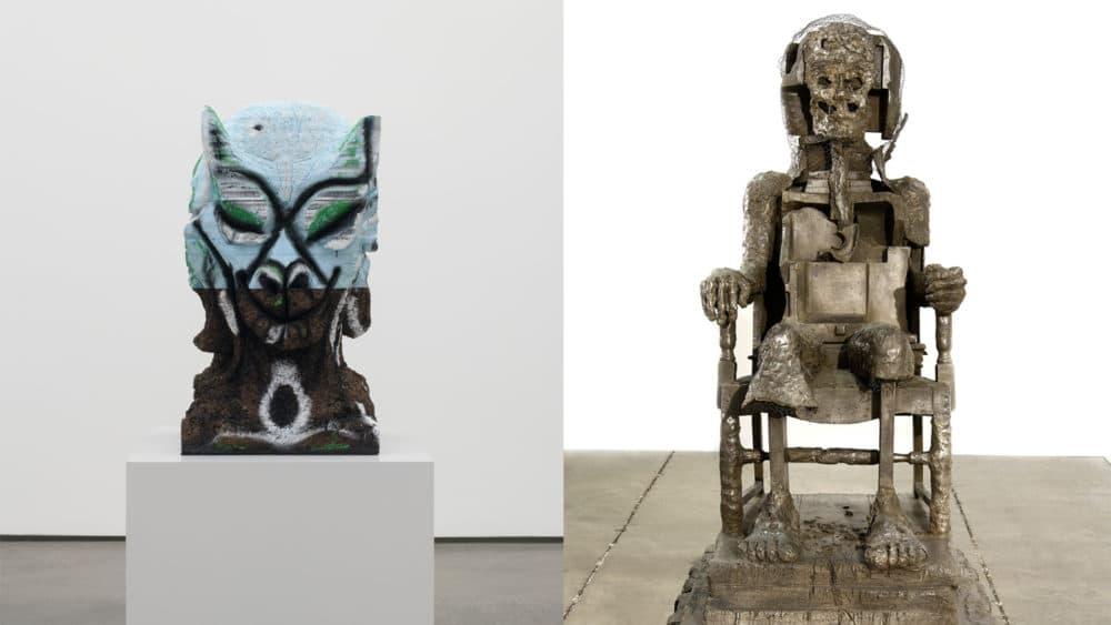 "Huma Bhabha's ""Four Nights of a Dreamer"" and ""The Orientalist."" (Courtesy Huma Bhahba, David Kordansky Gallery and Salon 94)"