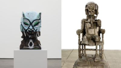 "Huma Bhabha's ""Four Nights of a Dreamer"" and ""The Orientalist."" (Courtesy Huma Bhahba, David Kordansky Gallery and Salon 94)"