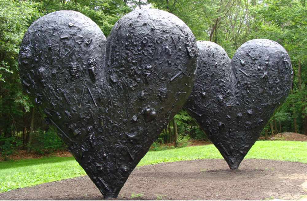 """""""Two Big Black Hearts"""" at the deCordova Sculpture Park. (Courtesy deCordova)"""