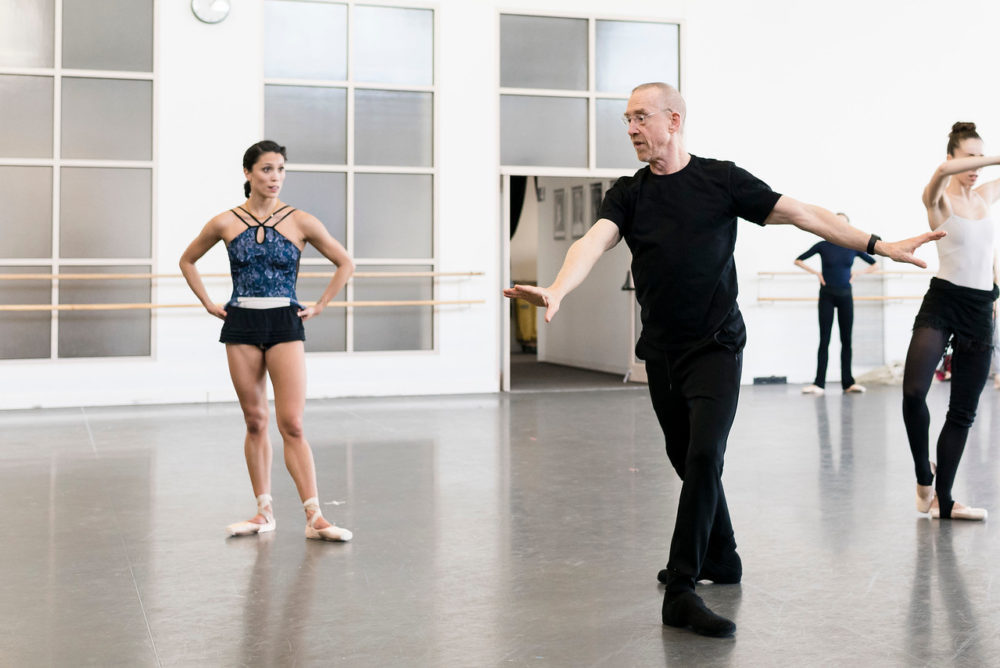 """Lia Cirio and Boston Ballet in rehearsal of """"Playlist (EP)"""" with William Forsythe. (Courtesy Liza Voll/Boston Ballet)"""