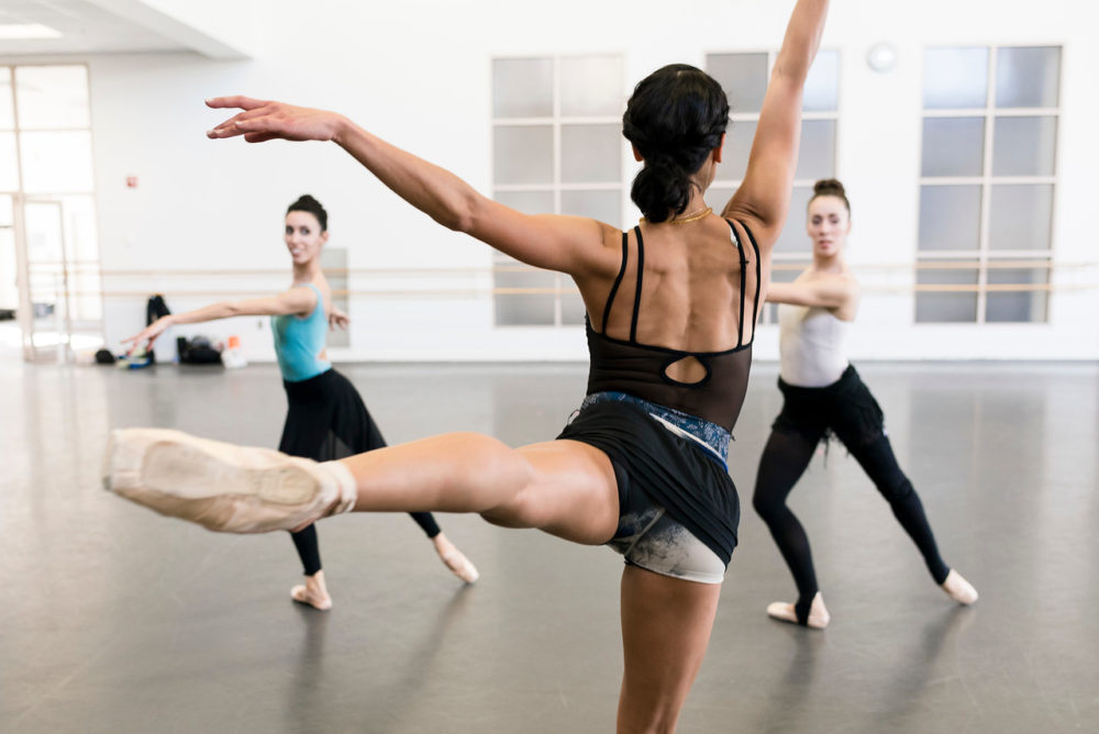 """Boston Ballet in rehearsal of """"Playlist (EP)"""" with William Forsythe. (Courtesy Liza Voll/Boston Ballet)"""