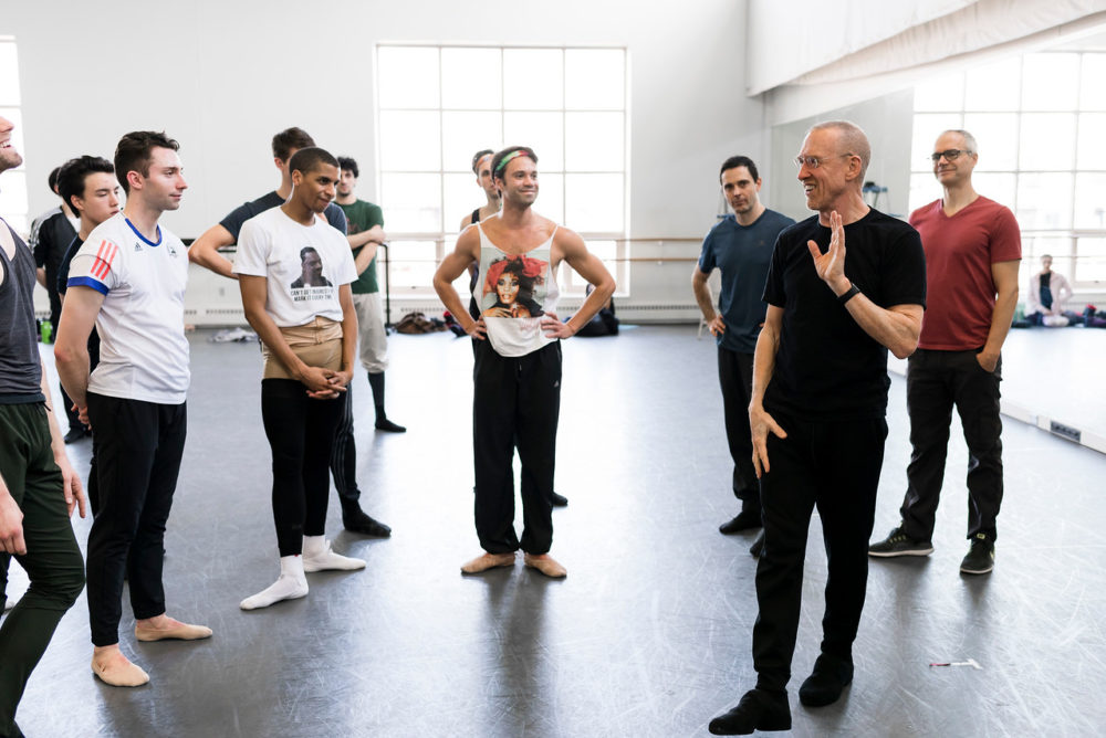 """Members of the Boston Ballet in rehearsal of """"Playlist (EP)"""" with William Forsythe. (Courtesy Liza Voll/Boston Ballet)"""