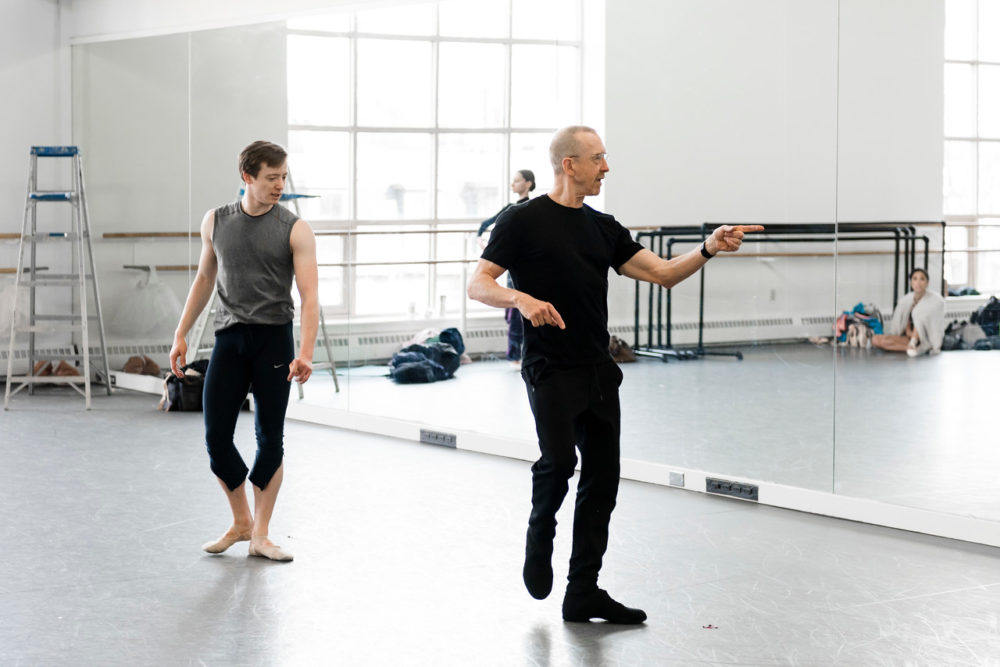 """Isaac Akiba in rehearsal of """"Playlist (EP)"""" with William Forsythe. (Courtesy by Liza Voll/Boston Ballet)"""