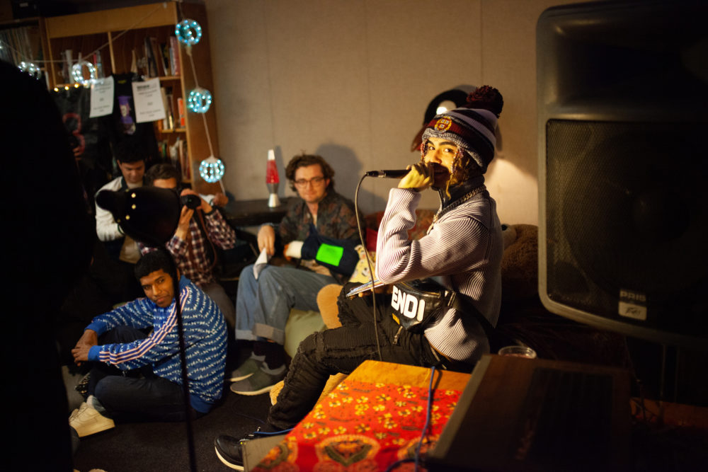 The 18-year-old rapper joined students at Harvard's WHRB Thursday night. (Courtesy James Gui)