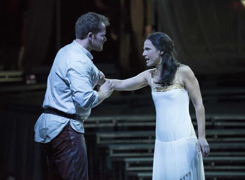 "Tarquinius (Duncan Rock) and Lucretia (Kelley O'Connor) in Boston Lyric Opera's production of ""The Rape of Lucretia."" (Courtesy Liza Boll/BLO)"