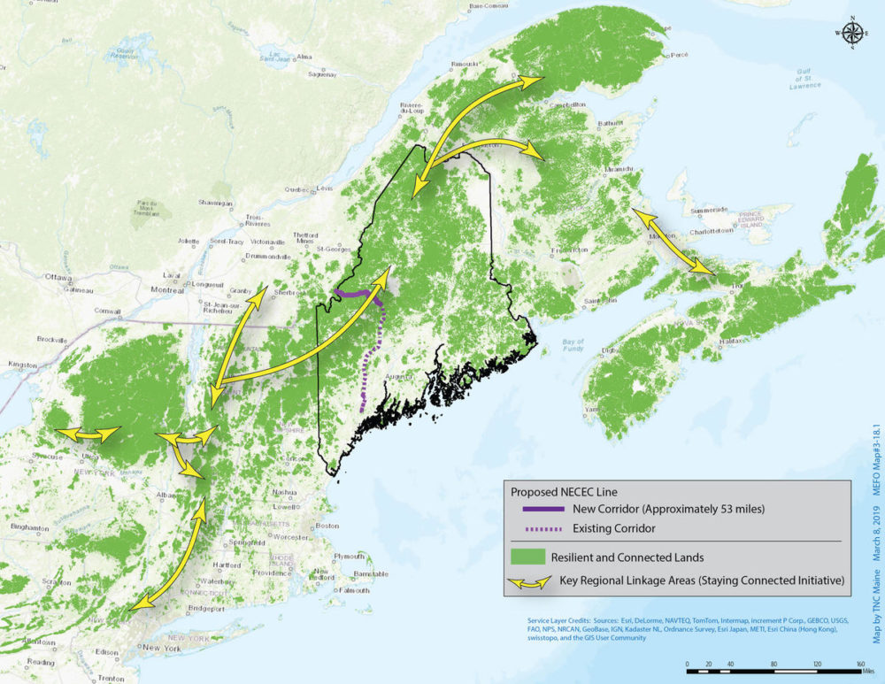This handout map from The Nature Conservancy shows the interconnectedness of the forestland in New England and Canada, and the high value of the area where Central Maine Power wants to clear-cut a transmission pathway. (Courtesy of The Nature Conservancy)