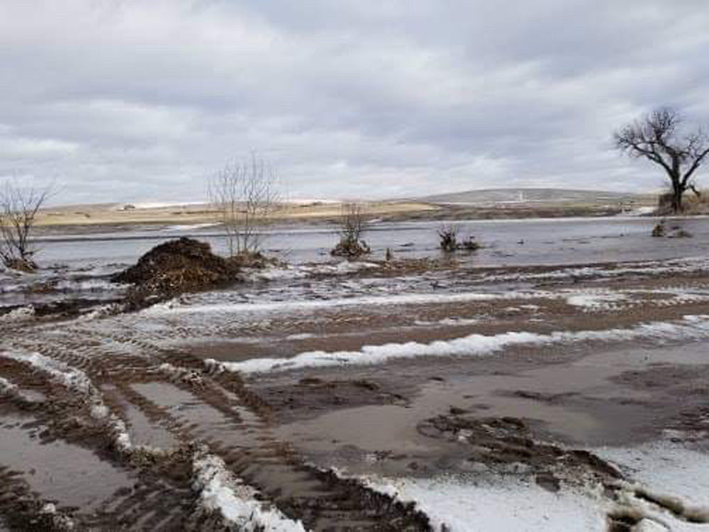 Annette Bloom's farm in Nebraska during the historic floods. (Courtesy of Annette Bloom)