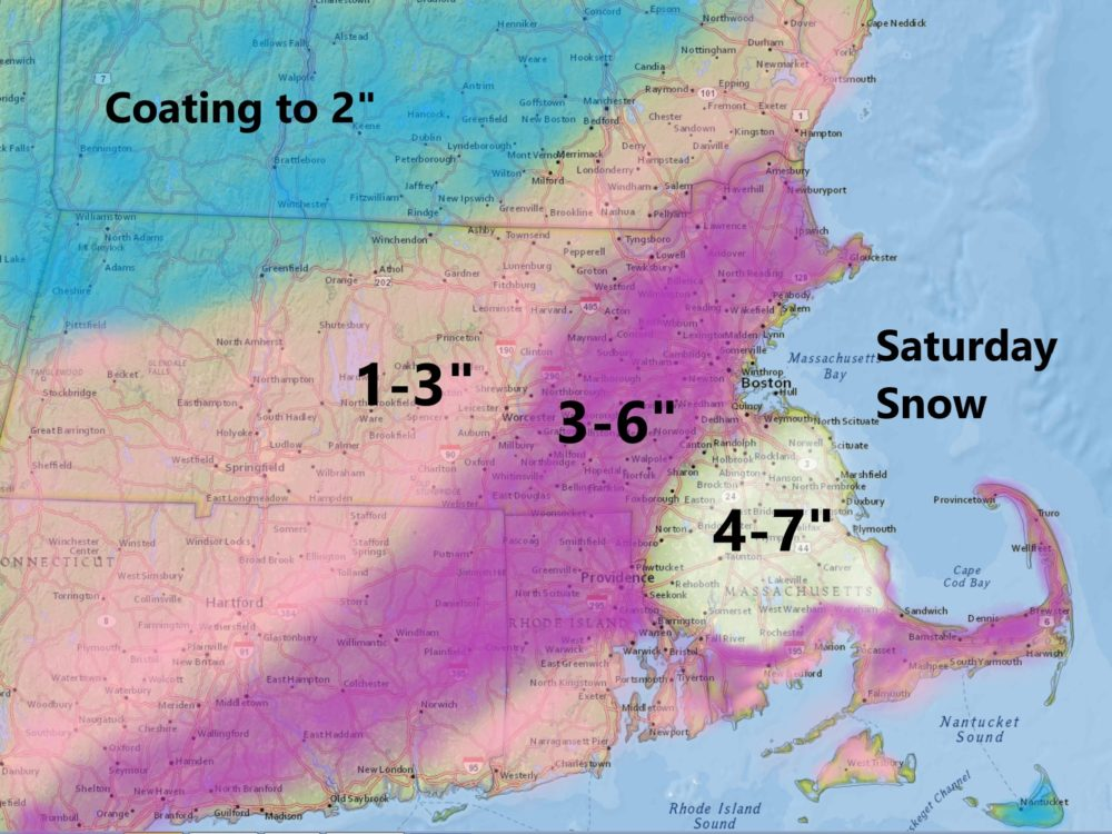 Snow Saturday will be heaviest in the morning. (Dave Epstein/WBUR)