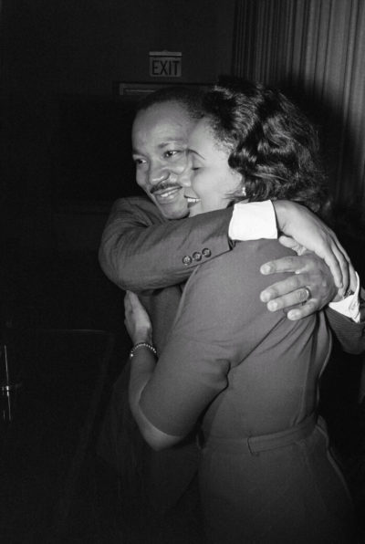 Martin Luther King Jr. and Coretta Scott King during a news conference following the announcement that he had been awarded the Nobel Peace Prize in October 1964. (Courtesy Corbis/Bettman)
