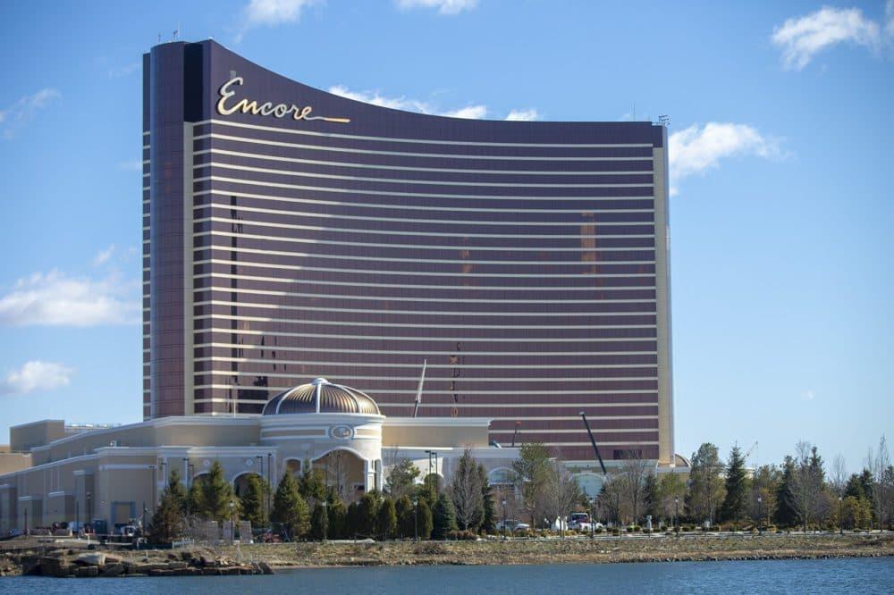The Encore Boston Harbor Casino in Everett is seen from Somerville. (Jesse Costa/WBUR)
