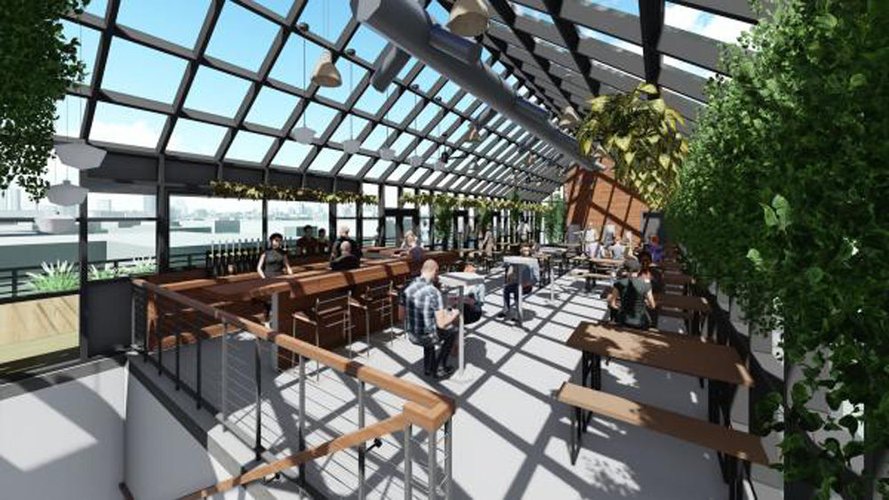 A rendering provided by DBC shows the interior of a new rooftop greenhouse and tasting room that is a feature of the expansion project. (RODE Architects images)