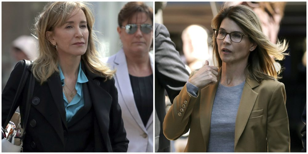 Actress Felicity Huffman, left, arrives at federal court in Boston. Actress Lori Loughlin, right, arrives at federal court in Boston.  (Charles Krupa and Steven Senne/AP)