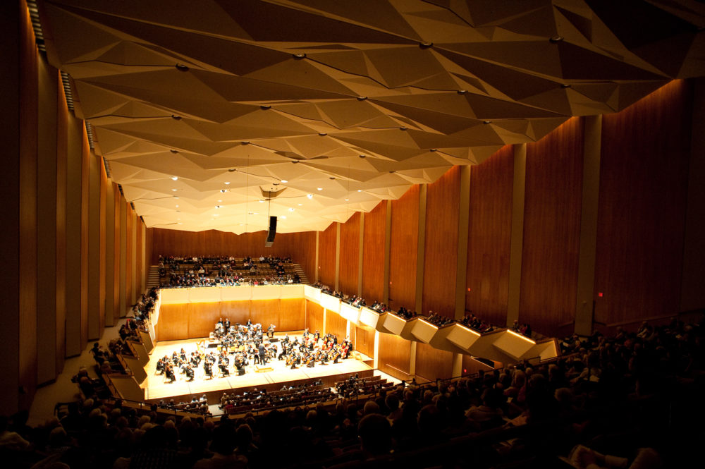 The Foellinger Great Hall has a hung ceiling structure that allows the sound to move up and over and resonate within the space, making it ideal for symphonies and chamber music. (Courtesy of Krannert Center for the Performing Arts)