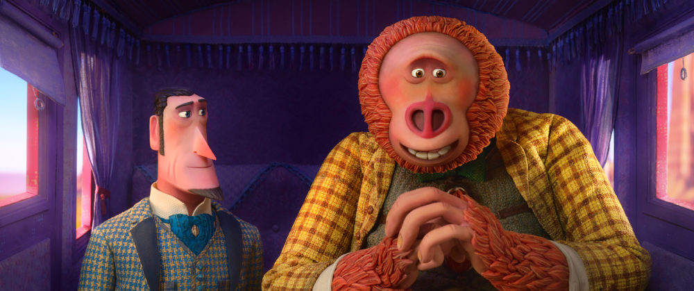 """Sir Lionel Frost (left), voiced by Hugh Jackman, and Mr. Link (right), voiced by Zach Galifianakis, in """"Missing Link."""" (Courtesy of Laika Studios/Annapurna Pictures)"""