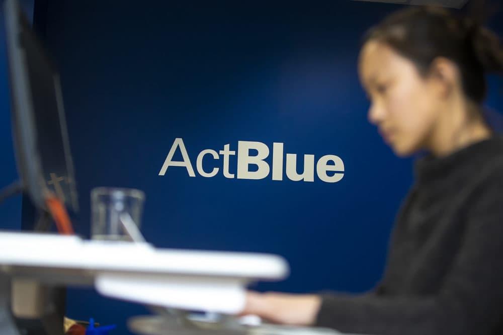 An ActBlue worker at their office in Somerville. (Jesse Costa/WBUR)