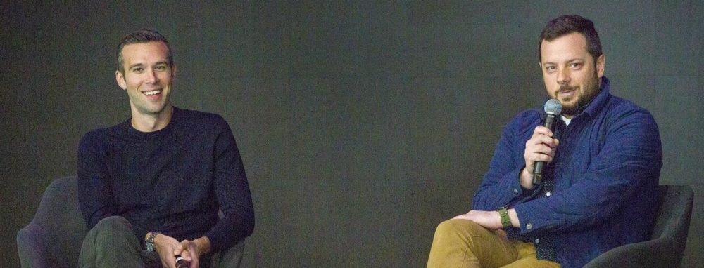 Jon Favreau and Ben Brock Johnson at WBUR's CitySpace. (Robin Lubbock/WBUR)