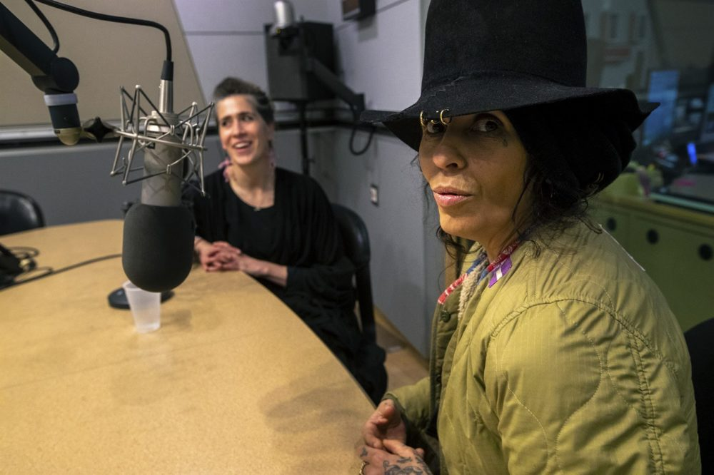 Linda Perry, right, and Imogen Heap in the WBUR studios. (Jesse Costa/WBUR)