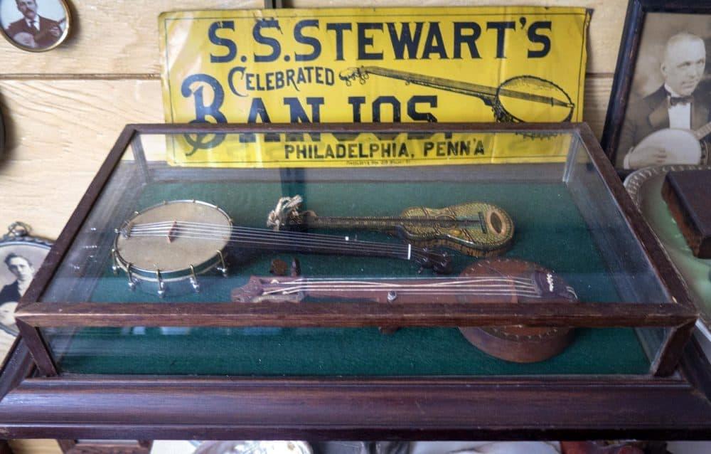 Antique banjos at Jim Bollman's house in Arlington. (Andrea Shea/WBUR)