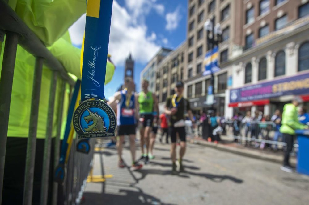A Boston Marathon medal waits for a finisher. (Jesse Costa/WBUR)