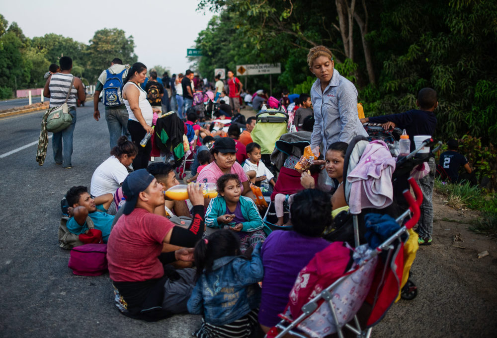 Central American migrants heading in caravan to the U.S. rest on their way to Huixtla, on Tapachula, state of Chiapas, Mexico, on April 15, 2019. (Pep Companys/AFP/Getty Images)