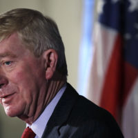 Former Massachusetts Gov. William Weld addresses a gathering during a New England Council 'Politics & Eggs' breakfast in Bedford, N.H. in February. (Charles Krupa/AP)