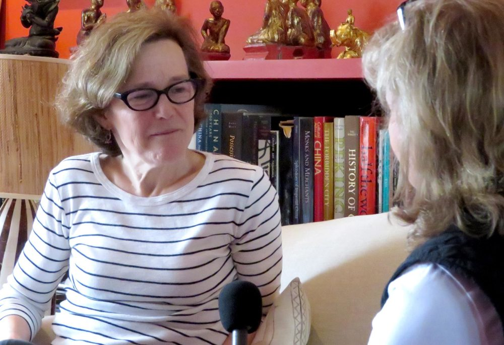 Here & Now's Robin Young interviews journalist and author Janny Scott. (Emiko Tamagawa/Here & Now)
