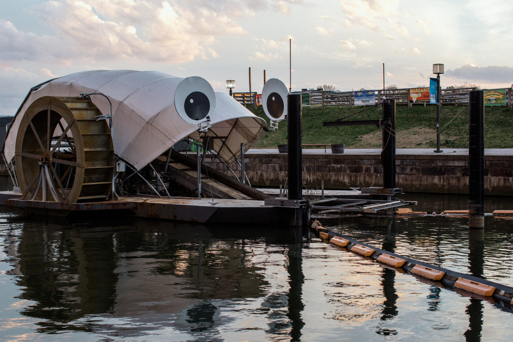 Mr. Trash Wheel — and his cousins Professor Trash Wheel and Captain Trash Wheel — have scooped up a million Styrofoam containers since the first one was installed on a tributary leading to Baltimore Harbor in 2014. (Rosem Morton for Here & Now)