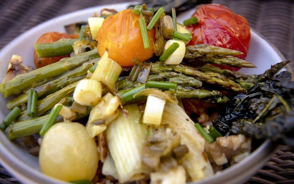 Chef Kathy Gunst's roasted spring vegetables on farro with a lemon-chive vinaigrette. (Robin Lubbock/WBUR)