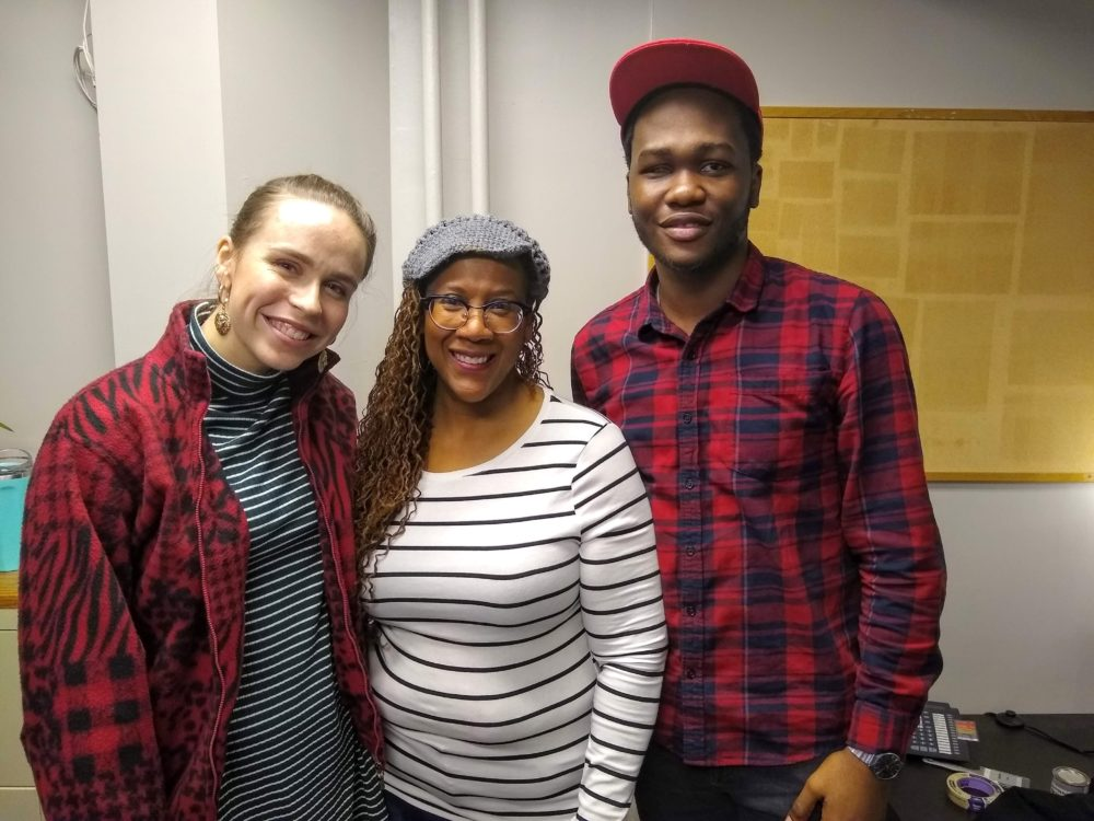 Patrice Williamson (center) and two of her voice students at Berklee College of Music, Kate Thorne (on the left) and Oluwatomisin Ade-kolawole (on the right). (Adeline Sire for WBUR)