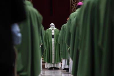 Pope Francis celebrates Mass at the Vatican, Sunday, Feb. 24, 2019. (Giuseppe Lami/Pool Photo via AP)