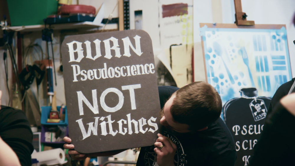 """Preparations for a TST """"Grey Faction"""" protest event featured in """"Hail Satan?"""" (Courtesy Magnolia Pictures)"""