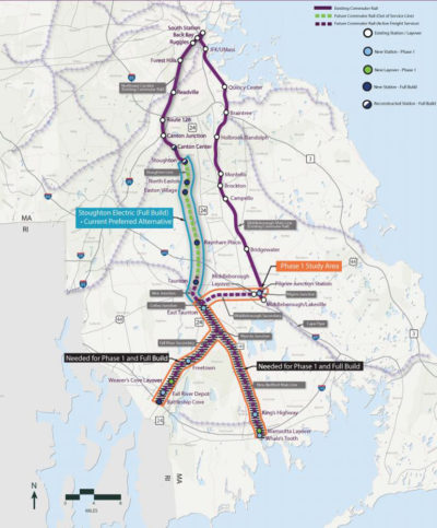 The first phase of the South Coast Rail project will use the existing Middleborough/Lakeville Commuter Rail Line to provide service from Boston's South Station to Taunton, New Bedford and Fall River. (Courtesy MassDOT)