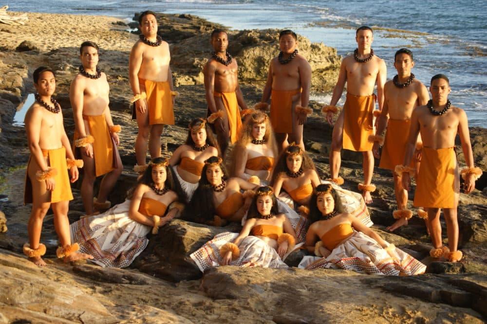 Halau Hi'iakainamakalehua, the hālau led by Ke'ano Ka'upu that's competing at this year's Merrie Monarch Festival. (Courtesy of Ke'ano Ka'upu)