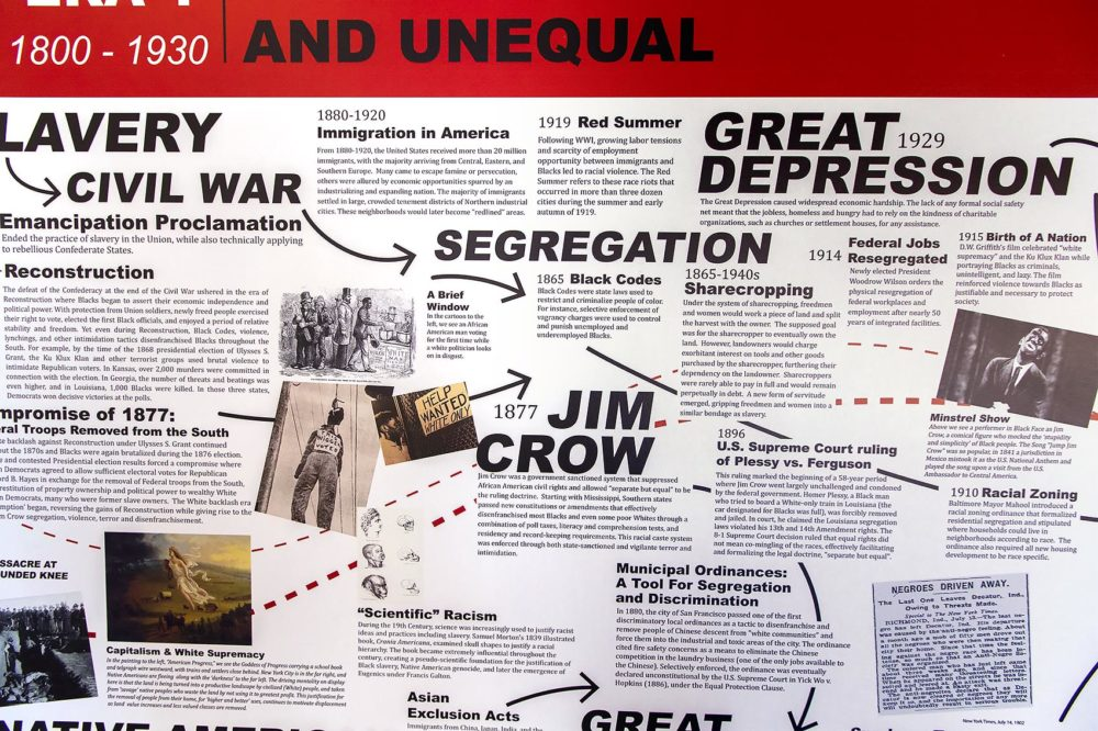 "Timeline displaying the history of Redlining as part of the ""Undesign the Redline: the Transformation of Race, Place, and Class in America"" exhibit at the Boston Architectural College. (Jesse Costa/WBUR)"