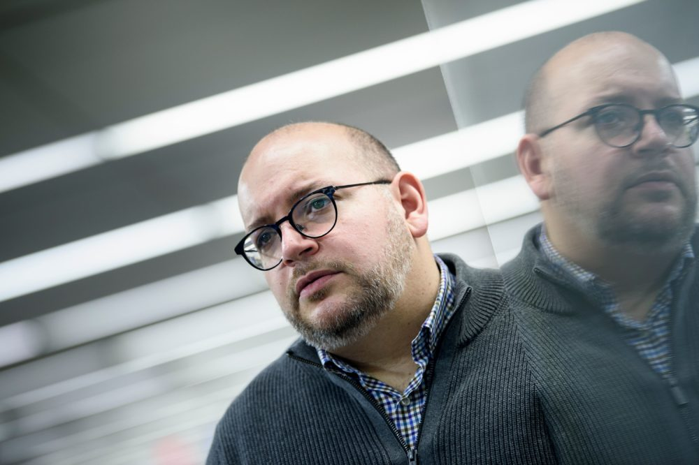 Jason Rezaian, former Tehran bureau chief for The Washington Post, who was imprisoned by Iranian authorities in 2014, poses for a portrait at the Post on Feb. 20, 2019 in Washington, D.C. (Brendan Smialowski/AFP/Getty Images)