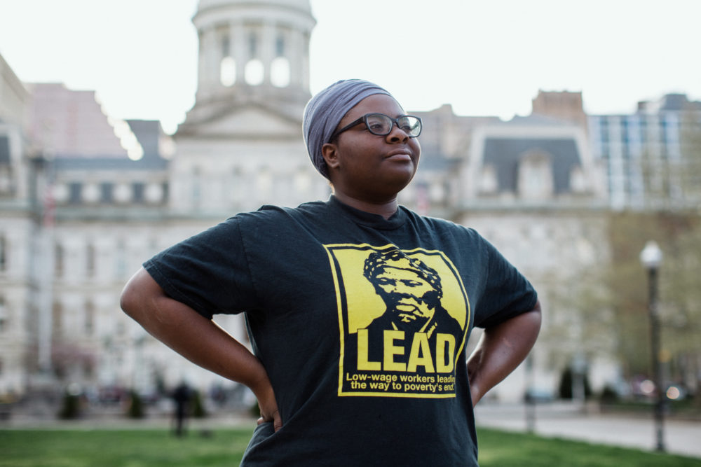 Destiny Watford was winner of the 2016 Goldman Prize for North America after she inspired her Baltimore neighborhood to stop construction of what would have been the nation's largest waste-to-energy plant. She is now working to encourage alternative methods for trash management. (Rosem Morton for Here & Now)